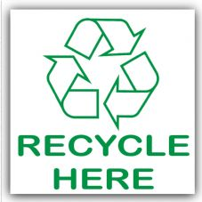 1 x Recycle Here Recycling Bin Adhesive Sticker-Recycle Logo Sign-Environment Label